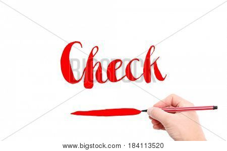 The word of Check written by hand on a white background