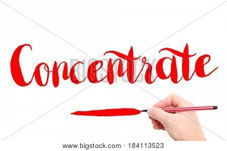 The word of Concentrate written by hand on a white background