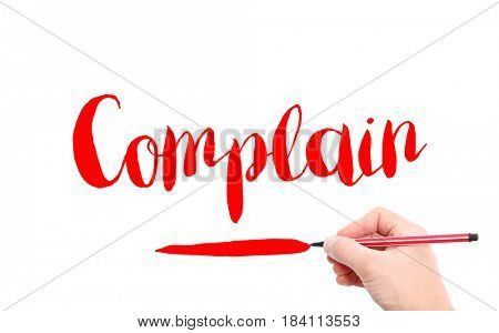The word of Complain written by hand on a white background