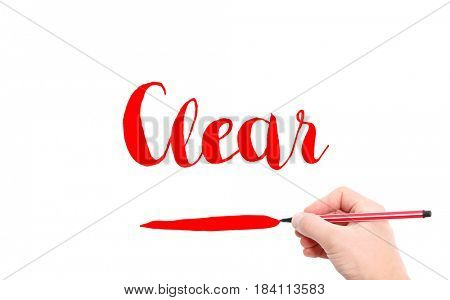 The word of Clear written by hand on a white background