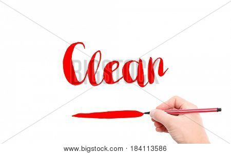 The word of Clean written by hand on a white background