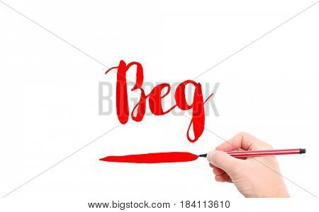 The word of Beg written by hand on a white background