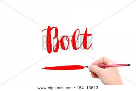 The word of Bolt written by hand on a white background
