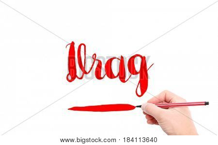 The word of Drag written by hand on a white background