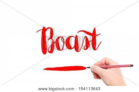 The word of Boast written by hand on a white background