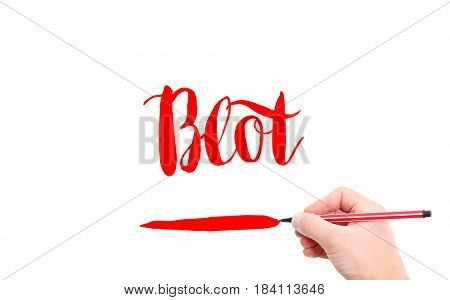 The word of Blot written by hand on a white background
