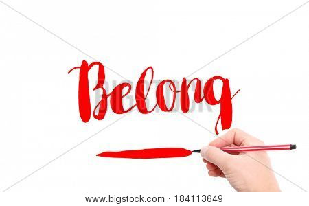 The word of Belong written by hand on a white background