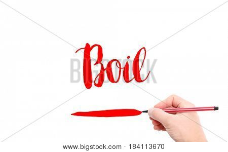 The word of Boil written by hand on a white background
