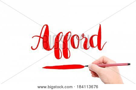 The word of Afford written by hand on a white background