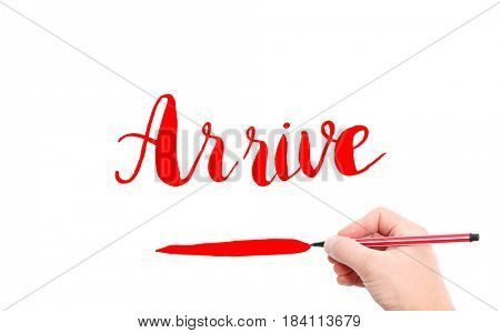 The word of Arrive written by hand on a white background