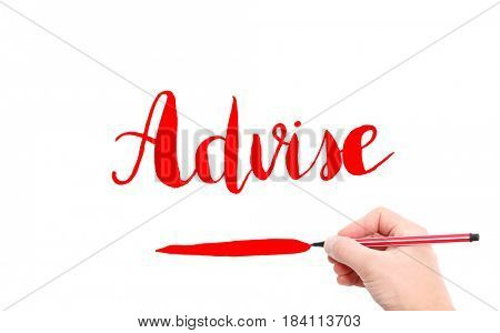 The word of Advise written by hand on a white background