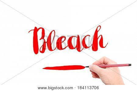 The word of Bleach written by hand on a white background
