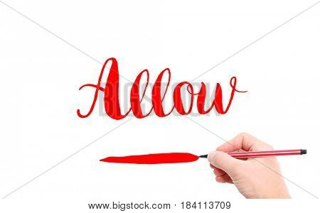 The word of Allow written by hand on a white background