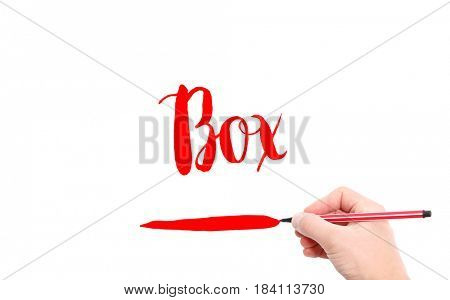 The word of Box written by hand on a white background