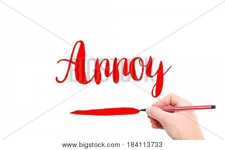 The word of Annoy written by hand on a white background