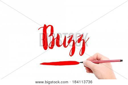 The word of Buzz written by hand on a white background