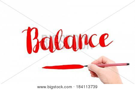 The word of Balance written by hand on a white background