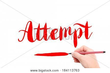 The word of Attempt written by hand on a white background