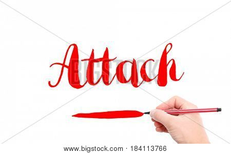 The word of Attach written by hand on a white background