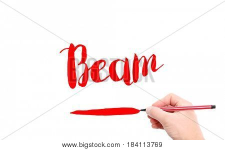 The word of Beam written by hand on a white background