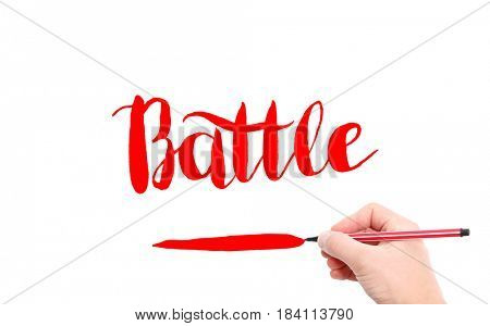 The word of Battle written by hand on a white background