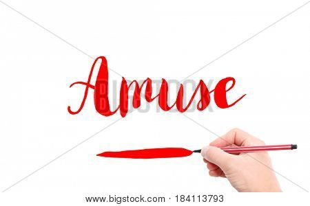 The word of Amuse written by hand on a white background