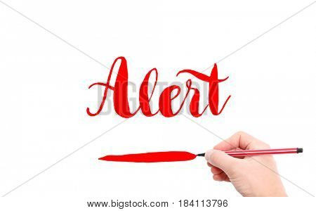 The word of Alert written by hand on a white background