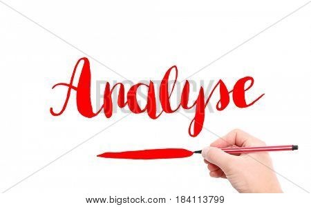 The word of Analyse written by hand on a white background