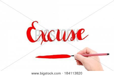 The word of Excuse written by hand on a white background
