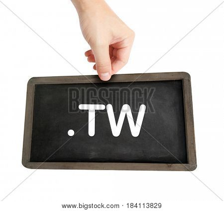 The .tw domain name on a keyboard key