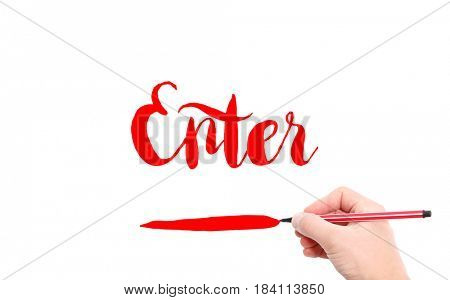 The word of Enter written by hand on a white background