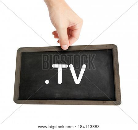 The .tv domain name on a keyboard key