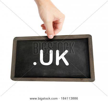 The .uk domain name on a keyboard key