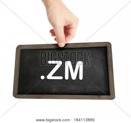The .zm domain name on a keyboard key
