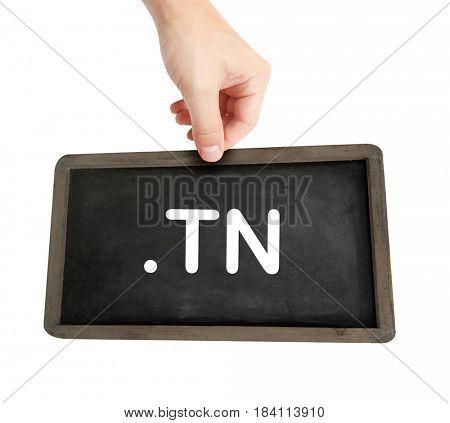 The .tn domain name on a keyboard key