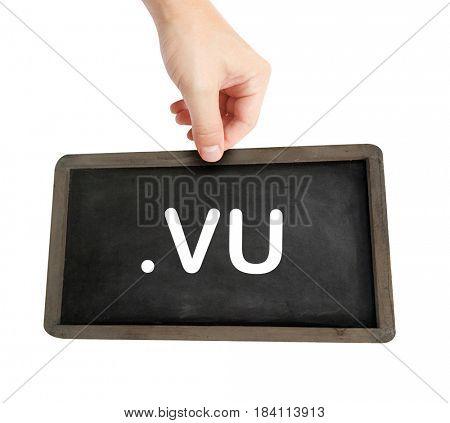 The .vu domain name on a keyboard key