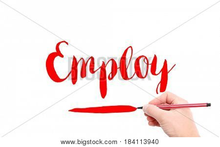 The word of Employ written by hand on a white background