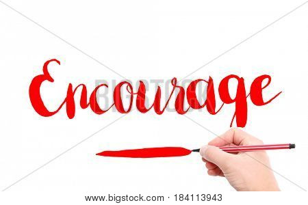 The word of Encourage written by hand on a white background