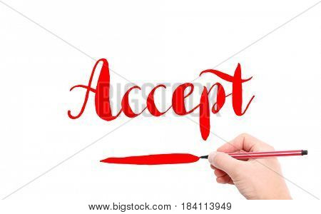 The word of Accept written by hand on a white background