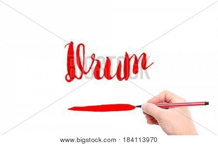 The word of Drum written by hand on a white background