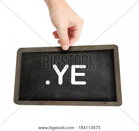 The .ye domain name on a keyboard key