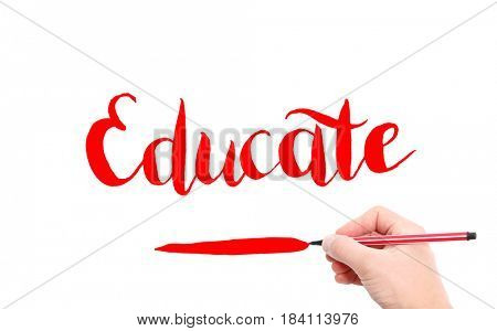 The word of Educate written by hand on a white background