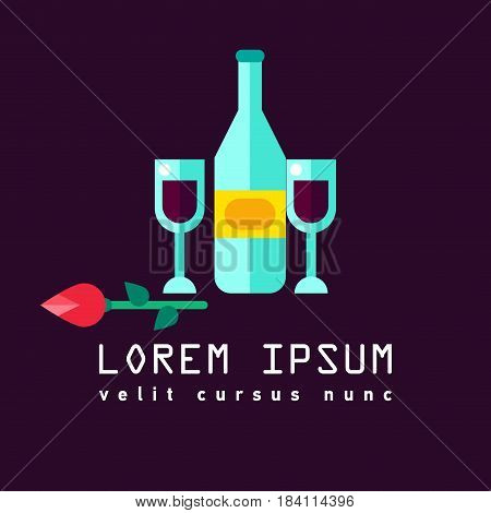 Vine logo icon flat. Restaurant. Menu vine. Flat design. Symbol for winemaker, liquor store, winery. Romantic evening. Logo of romantic dinner