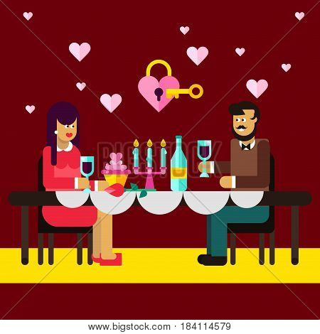 Romantic dinner of lovely couple. Romantic relationship. Falling in love. Romantic stuff wedding rings, key from heart, cute pictures. Valentine s day, dating