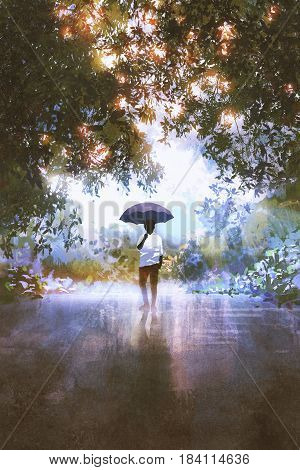 digital art of the man holds umbrella standing on the wet road with trees on background, illustration painting