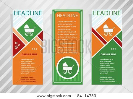 Baby Buggy Icon On Vertical Banner. Modern Banner, Brochure Design Template.