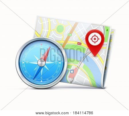 Vector illustration of global navigation concept with detailed blue compass and city map