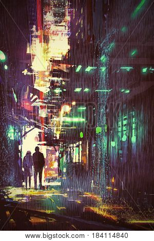 sci-fi concept of couple walking in alley at rainy night with digital art style, illustration painting