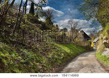 path to wooden cottages in sunny spring afternoon in village Karba in spring czech tourist area Machuv kraj