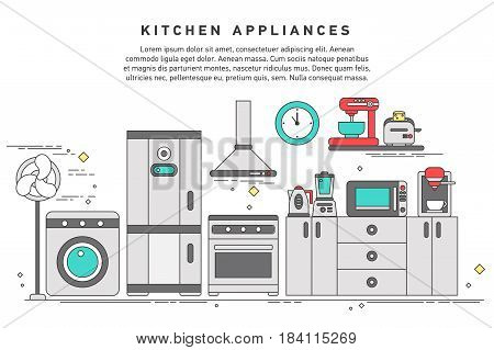 Smart home appliances, future digital technology in everyday life, internet of things for consumer electronic, refrigerator, kitchen furniture, washing, interior.